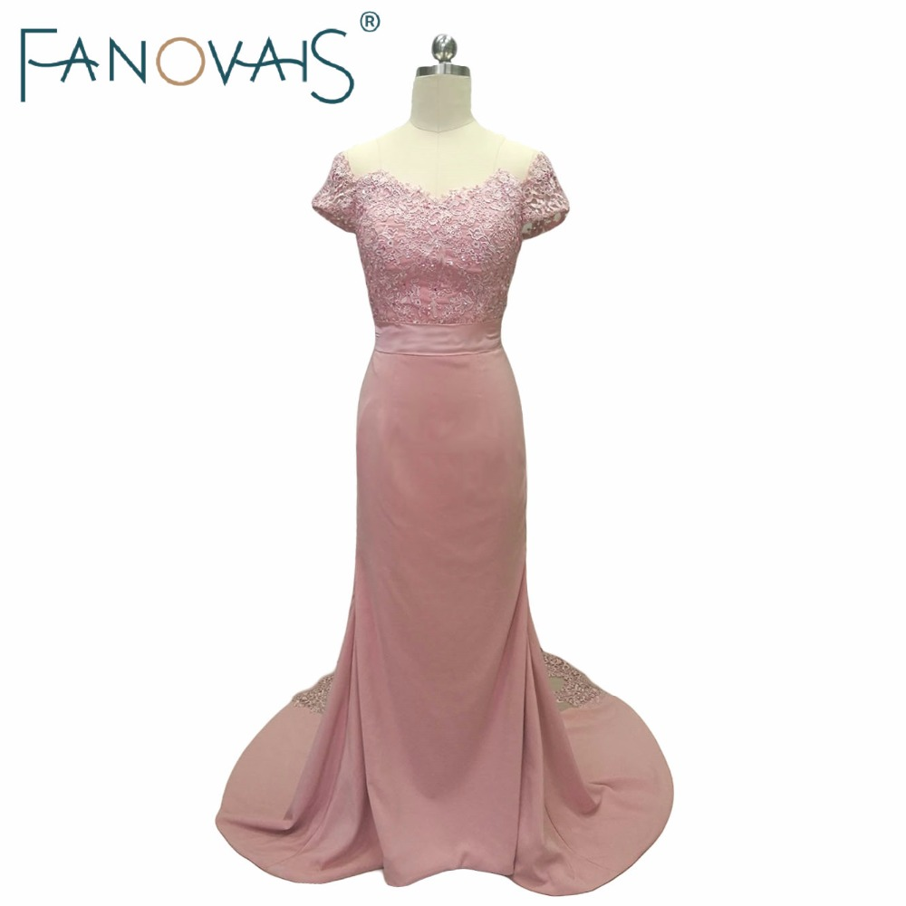 Mermaid Blush Pink Bridesmaid Dresses Off the shoulder Lace Wedding Gust Dresses Maid of Honor Dress Bridesmaid Gowns Lace Train