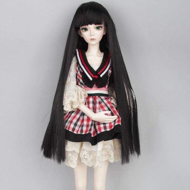 2015 Hot Sale Beautiful Straight Doll Hair Wig DIY BJD Wig Long For Dolls 1/4 Black