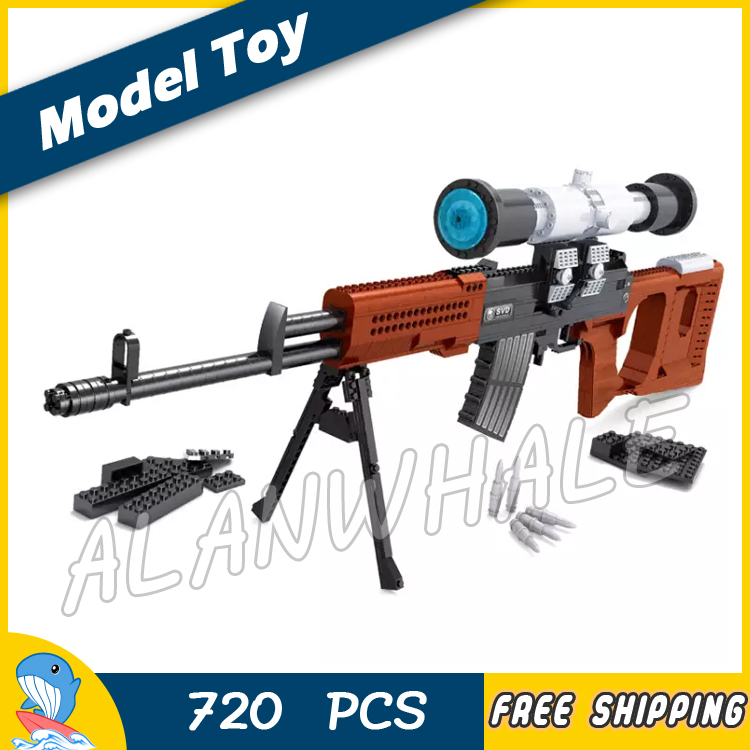 все цены на 720pcs Model SVD Sniping Rifle Scope Toy Gun Weapon For Military Assault Soldiers Building Kit Blocks Toys Compitable with Lego онлайн