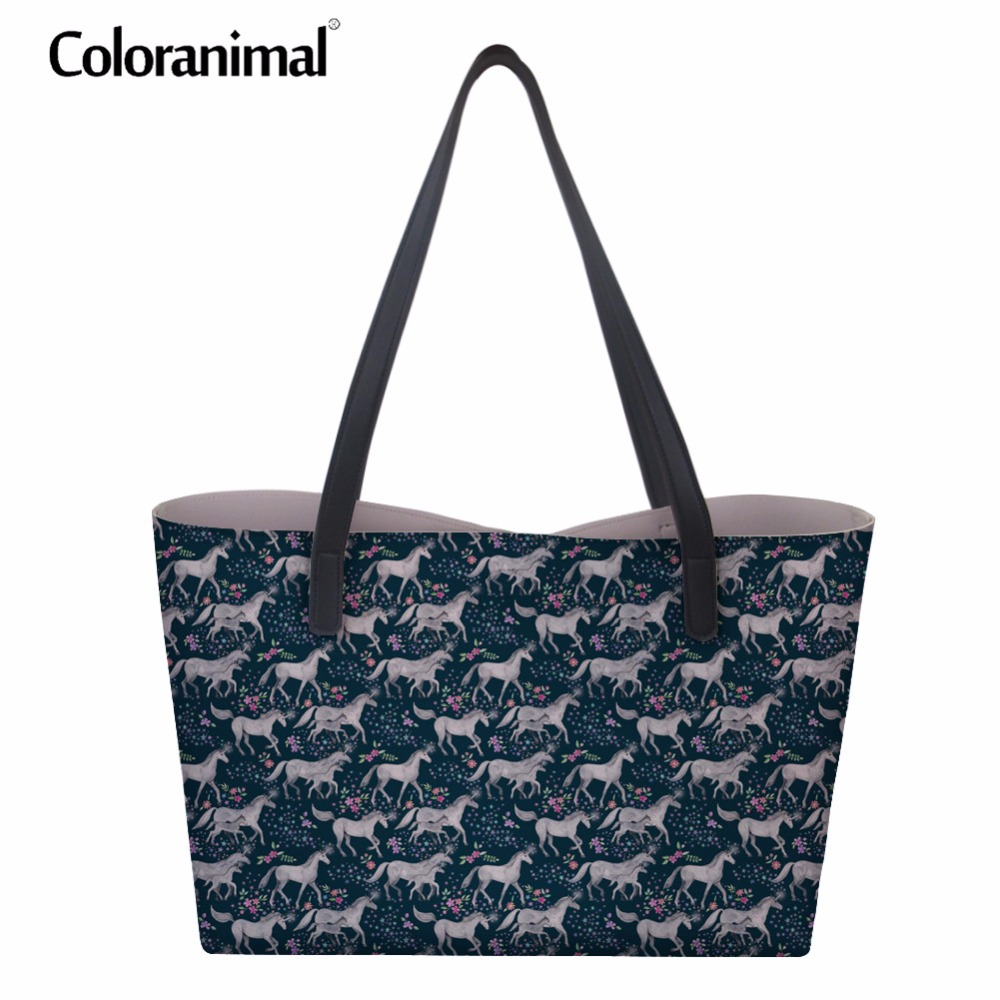 Coloranimal Carousel Crazy Horses Design Bags for women 2018 New PU Leather Women Handbags Large Capacity Shopping Shoulder Bags