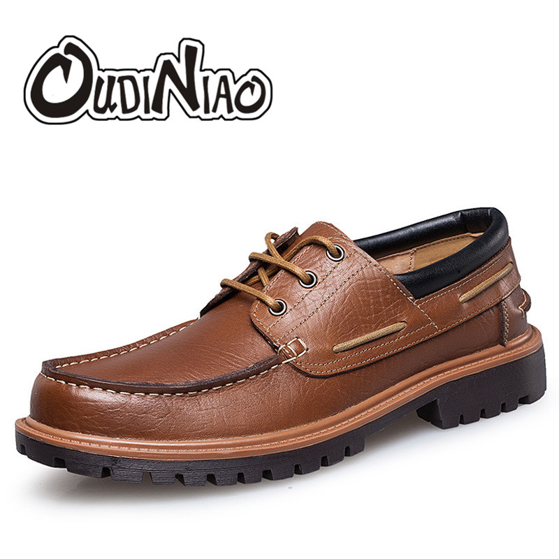 OUDINIAO Mens Shoes Casual Fashion British For Men Large Size Cow Leather Men Boat Shoes Casual Classic Shoes For Male