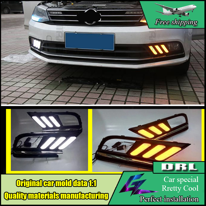 Yellow Turn Signal Relay Waterproof Car LED DRL Daytime Running Light Daylight For Volkswagen Jetta Americas version 2016 2017 2pcs set waterproof led daylight drl lamp car led daytime running light for volkswagen vw jetta 2014 2015 fog lamp