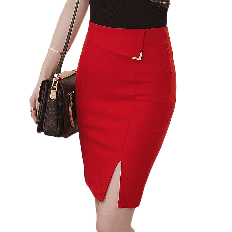 mujer Summer <font><b>5XL</b></font> Plus Size Slim Office <font><b>Skirt</b></font> Faldas Women <font><b>Sexy</b></font> Elastic High Waist Pencil <font><b>Skirt</b></font> Step Office Formal Saias <font><b>Skirts</b></font> image