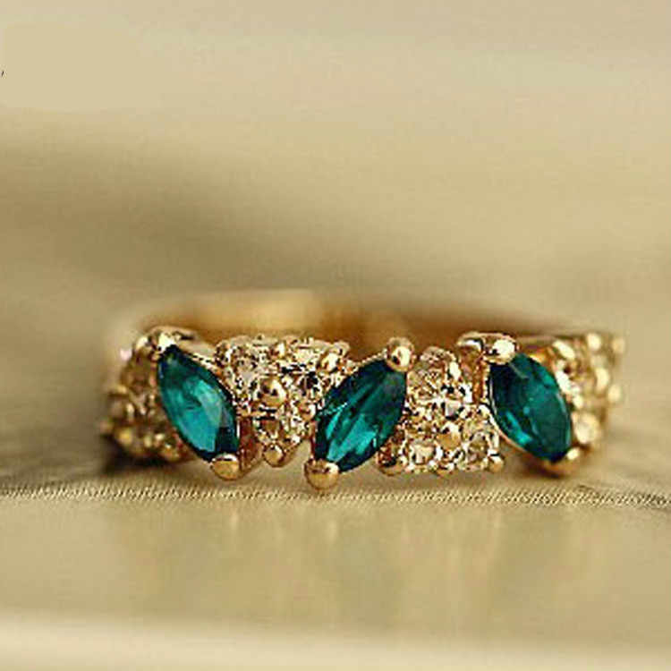 1pc 2018 Retro Vintage Created crystal Gold Ring Sweet Rhinestone Rings For Women Wholesale / Retail  17mm Size