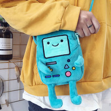 купить ins hot Finn & Jake Figure Crossbody bag Swag Rap Plush coin bag Phone Bag anime advanture robert BMO Bag bag toys for Children по цене 760.73 рублей