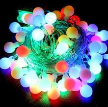 Colorful round bulb string lights 220V 100 led string lights 10 m wedding twinkle Decoration+Free shipping