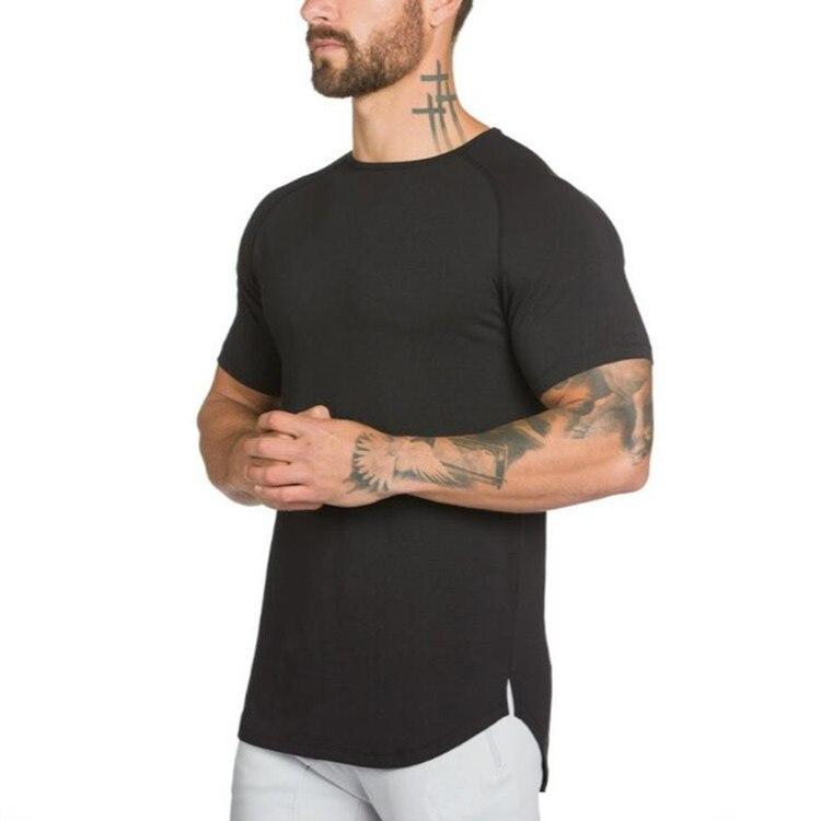 Muscleguys long t shirt Men Hip Hop Gyms t-shirt Longline Extra Long tee shirt for male Bodybuilding and Fitness Tops tshirt