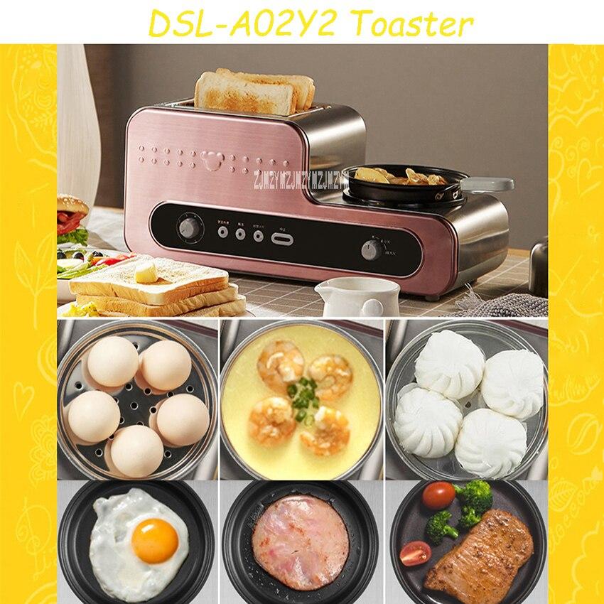 DSL-A02Y2 ménage 2 tranches grille-pain multifonctionnel petit-déjeuner grille-pain oeuf cuiseur automatique électrique poêle qualité vapeur