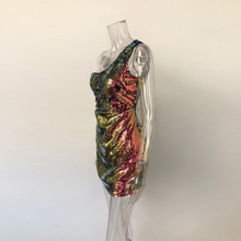 Bling Colorful Sequins Mini Dress Sexy One Shoulder Low Cut Zippered Dress Women Streetwear Party Bodycon