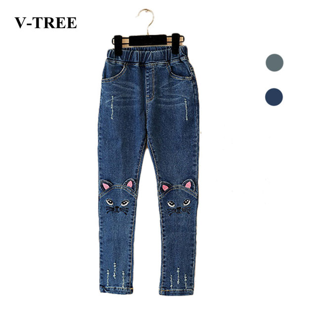 V-TREE Весна осень 2016 стерео кошка джинсы для девочек дети рваные джинсы модные джинсы для подростков девушка джинсы