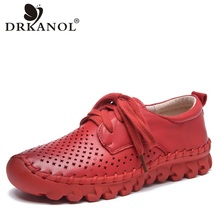 DRKANOL New Design Summer Breathable Women Flat Shoes Comfortable Lace Up Genuine Leather Flats Women Casual Shoes Handmade