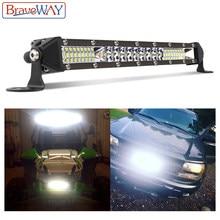 BraveWay listwa świetlna led lampa do pracy dla samochodu Off Road ciągnik siodłowy ATV SUV 4WD UAZ 4x4 światło drogowe 12V dzień czas pracy DRL