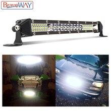 BraveWay مصباح ليد بار مصباح عمل للسيارة قبالة الطريق جرار شاحنة ATV SUV 4WD UAZ 4x4 القيادة ضوء 12 فولت يوم تشغيل DRL