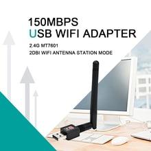 Adaptador de antena WiFi USB de 150Mbps 2dBi tarjeta de red inalámbrica 2,4G Wifi ordenador con llave electrónica USB Ethernet WiFi receptor MT7601 802.11b/n/g