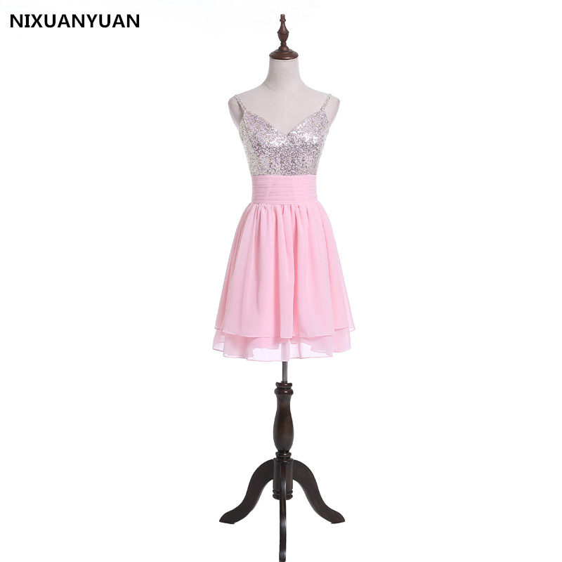 NIXUANYUAN Real Picture Hot Sale Popular Spaghetti Strap Tulle Beaded Short Coral   Prom     Dress   Peach   Prom   Gown