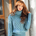 2016 Зима Мохер Теплая Водолазка Женщин Свитера И Пуловеры Дамы Пуловеры женские Трикотажные Свитера Женщин Повседневная пуловеры
