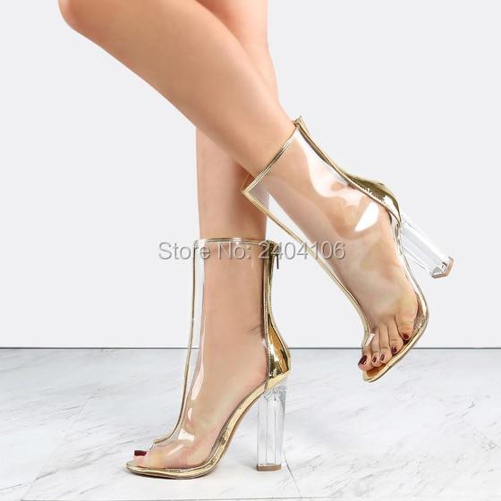 548929b837e Livraison gratuite 11 cm bloc talons PVC plastique chaussures femme or noir  bord Peep Toe Transparent