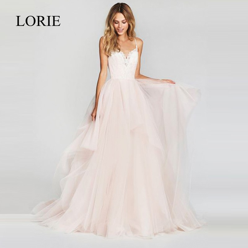 LORIE A Line Wedding Dress 2019 New Arrival Vestido De Noiva Simple Bridal Dress Puffy Tulle Beach Wedding Dresses Lace Top