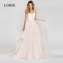 LORIE une ligne robe De mariée 2019 nouveauté Vestido De Noiva Simple robe De mariée gonflé Tulle plage robes De mariée dentelle haut