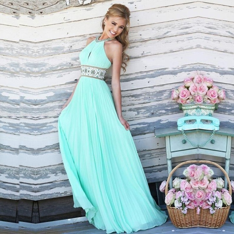 2018 Women Vintage Evening Elegant Sleeveless Long Dress Floor-length Sexy Formal Prom Party Gowns M Dress J872