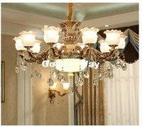 European Style Luxury Bronze Color Lustres de Cristal Modern AC Blue Antique Lamp Zinc Alloy Living Room LED Chandelier Lamp
