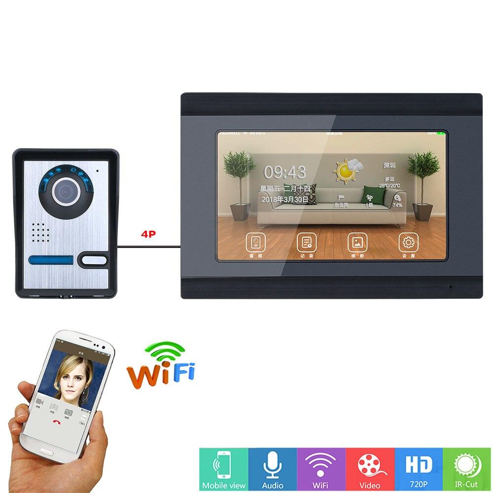 "Wifi Wireless Video Doorbell Intercom Entry System 7"" TFT Monitor 1000TVL Camera  Door Phone System Unlock Via Monitor and Phone"
