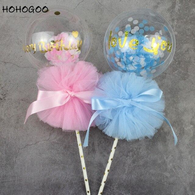 HOHOGOO 4 pçs/set 5 polegada Te amo Balão Feliz Aniversário Decoração Do Bolo De Casamento Festa de Aniversário Rosa Azul BoBo Balão Transparente