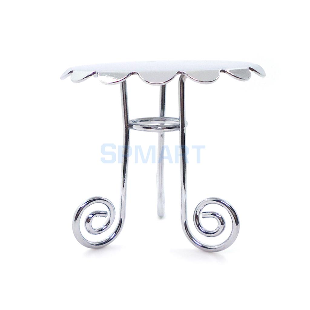 1/12 Scale Dollhouse Kitchen Dining Room Furniture Silver Metal Round Table for 12th Dolls House Decoration Accessories
