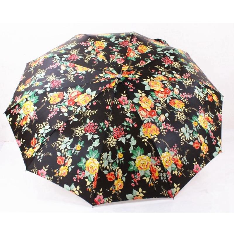 Humorvoll Kreative Digitaldruck Monatliche Rose Regenschirme 3 Folding Graceful Frauen Regenschirm Anti-uv/regen Automatische Sonnenschirm Sonnenschirm