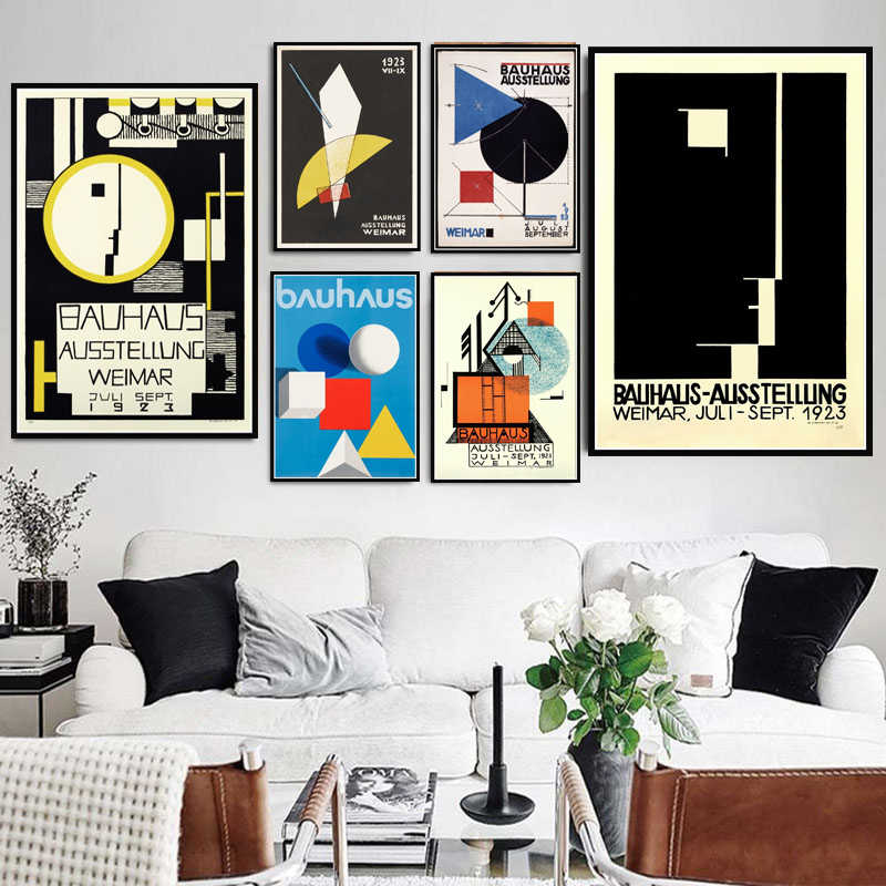 Bauhaus Ausstellung 1923 Weimer Exhibition Poster Wall Art Picture Posters and Prints Canvas Painting for Room Home Decor