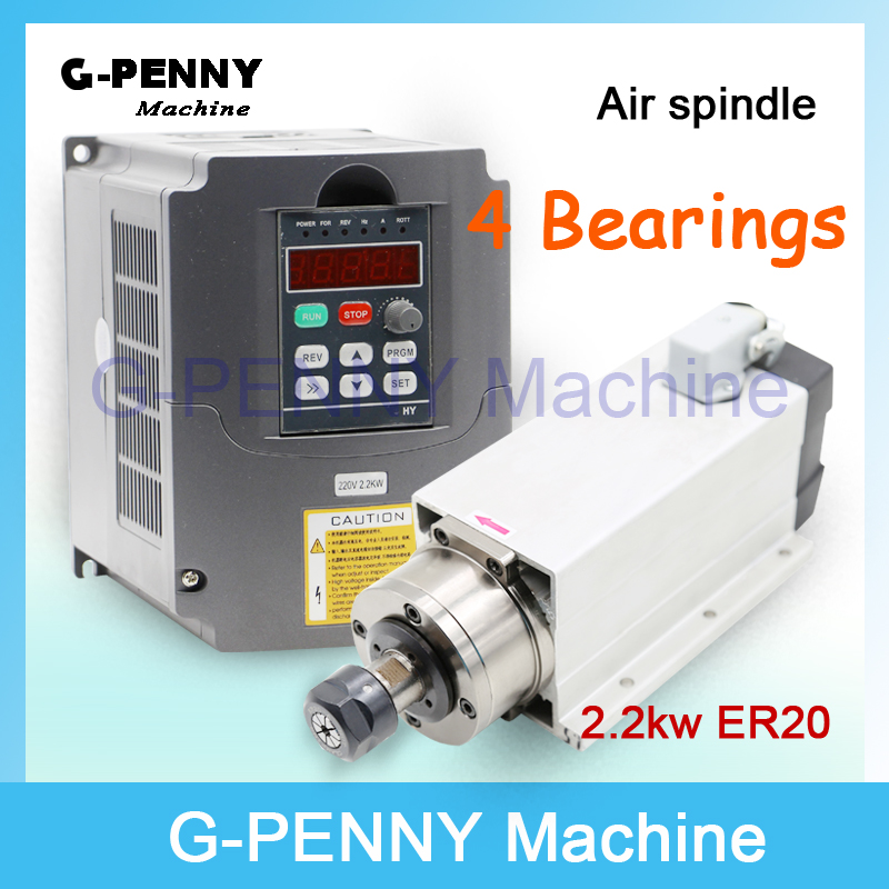 New product!220V/380v 2.2KW CNC Air Cooled Square Spindle Motor ER20 Air Cooling motor spindle & 2.2kw VFD/Inverter High Quatity-in Machine Tool Spindle from Tools    1