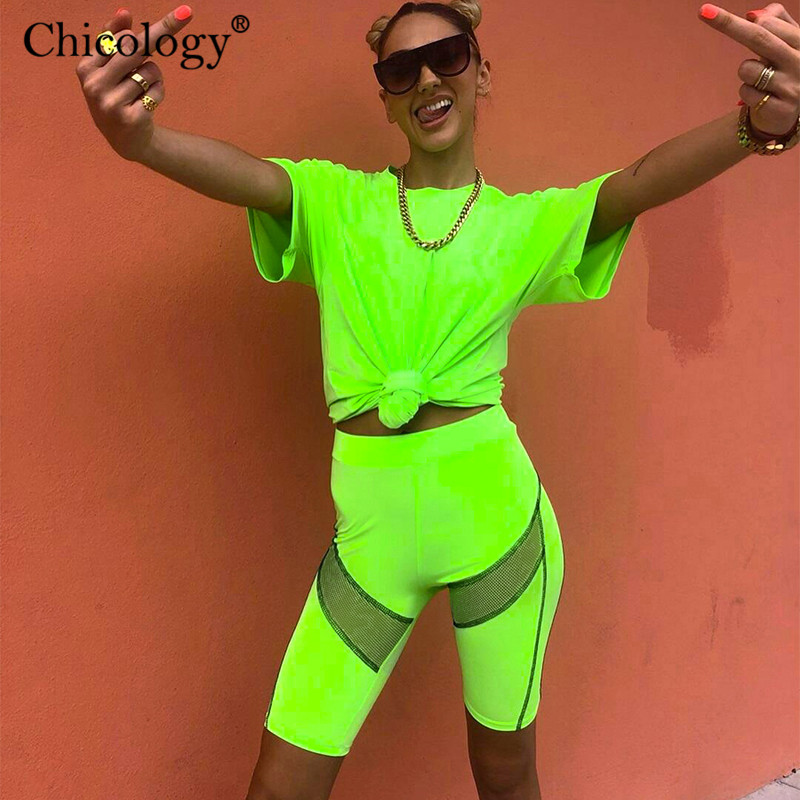Chicology Neon Patchwork Side Lines Women Biker Short 2019 Summer Female High Waist Sporting Clothes Sexy Lady Streetwear Outfit