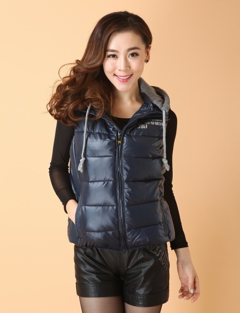 Cotton wadded faux leather vest with hooded women short design letter printing slim waistcoat free shipping