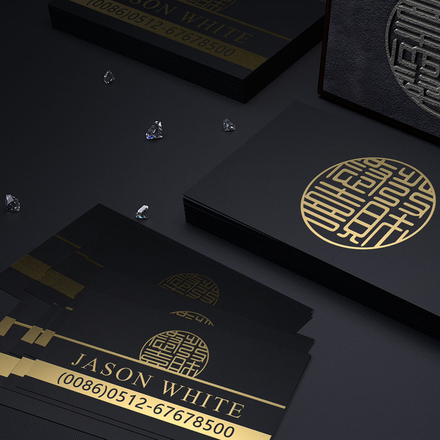 customized business cards classical chinese style high quality black gold foil business cards printing - High Quality Business Cards