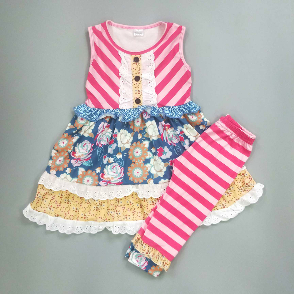 Wholesale Price Summer Clothes Kids Remake Ruffle Pants Sets Girls Boutique Cotton Clothing 2GK812-947Wholesale Price Summer Clothes Kids Remake Ruffle Pants Sets Girls Boutique Cotton Clothing 2GK812-947