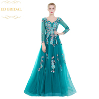 High end Banquet Evening Dress Elegant Peacock Blue Long Sleeved Lace Flower Sweep Train Prom Formal Party Gown