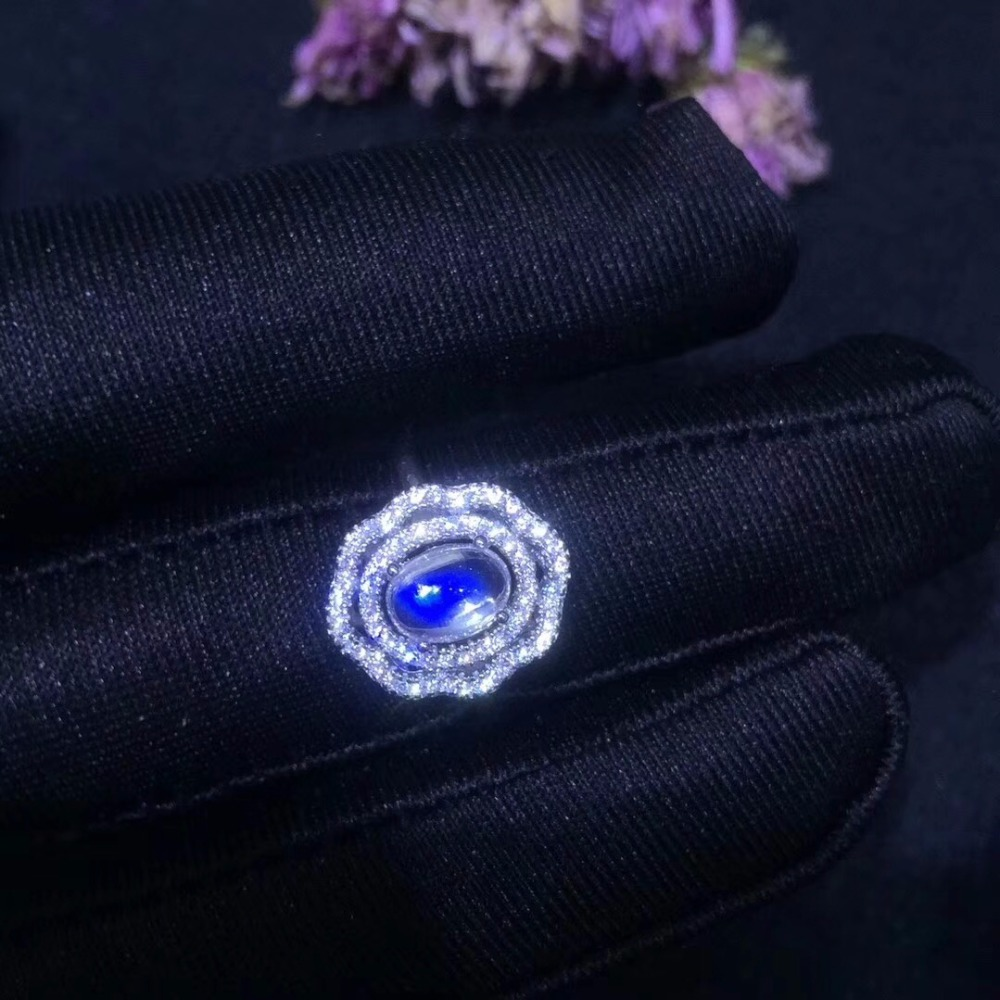 Uloveido Oval Cut 1 2 Carats Natural Blue Moonstone Ring 925 Sterling Silve Popular Ladies Gemstone