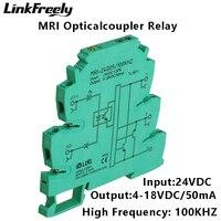 MRI 24D05 100KHZ PLC LED Optical Coupler Relay 24VDC 8mA Input Output 4 18VDC 50mA Interface Voltage Relay Module DIN Rail