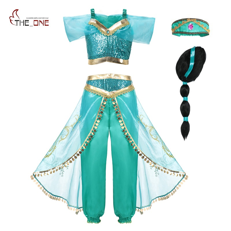 MUABABY Arabian Fancy Dress Up For Girls Sleeveless Sequined Jasmine Cosplay Princess Costume Kids Halloween 2 Pcs Set Clothes