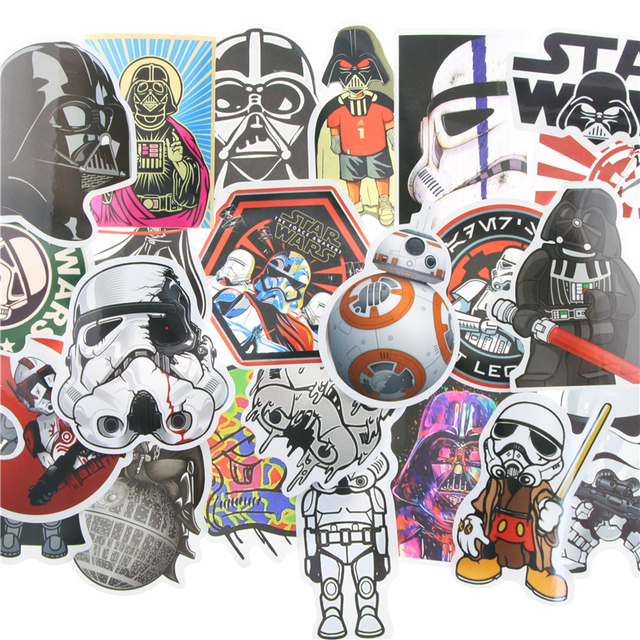 25 35pcs kinds star wars waterpoof fuel cap creative sticker for skateboard laptop luggage fridge