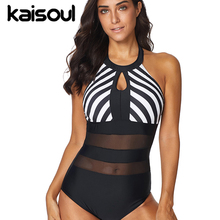 Sexy Bikini One Piece Black Swimsuit Tankini Women Swimming Beachwear Swimwear New Arrival Lace Striped Zebra Halter Drop цена в Москве и Питере