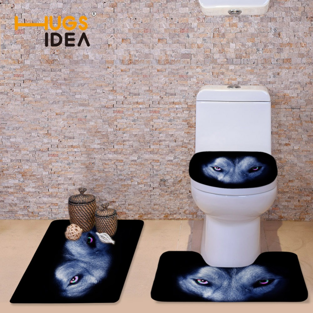 HUGSIDEA Black Printing Wolf Dog Toilet Seat Cover Thick Warmer Flannel WC Mat Nonslip Bathroom Carpet Mat 3pcs/set Potty Cover|potty cover|toilet seat cover|toilet seat - title=