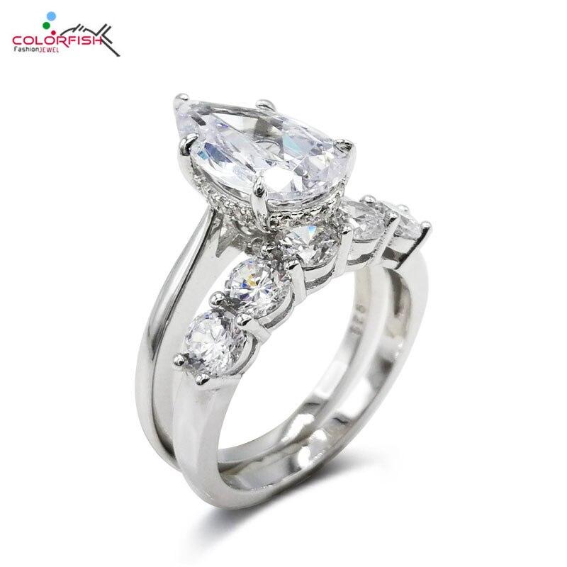 COLORFISH solide 925 en argent Sterling 4 carats en forme de poire bagues de fiançailles ensemble de bijoux de mariage de luxe cinq pierres femmes bague ensemble