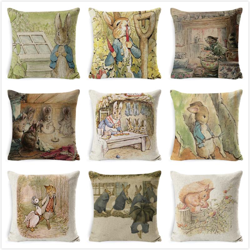 Peter Rabbit Cushion Cover Printed Pillow Mouse Case Animal for Home Sofa Decorations Pillowcase cojin