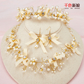 Charm women Headband+Necklace+Drop Earring gold Plated crystal hairband crown pearl jewelry set wedding accessories Gifts yimeng