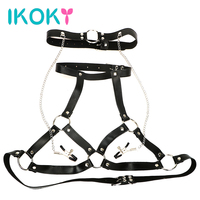 IKOKY Body Harness SM Bondage Bra Restraints Nipple Clamps PU Leather Sex Toys For Women Fantasy Breast Clips Mouth Gag O Ring