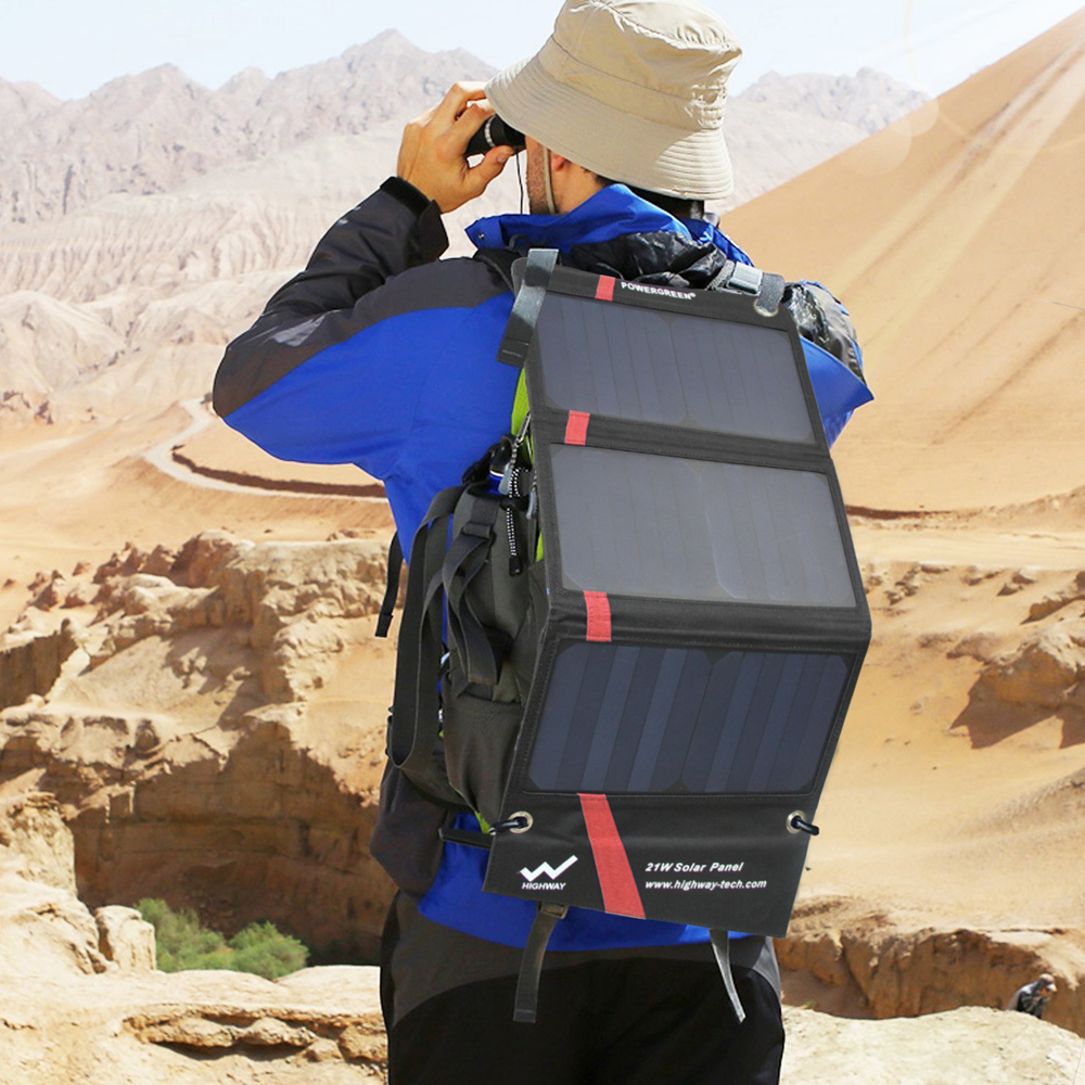 PowerGreen Solar Mobiele Lader 21 Watt Opvouwbare Zonnepaneel Power Bank Externe Batterij voor Xiaomi voor LG Telefoons (Rood)