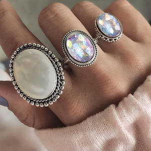 RscvonM Big 3pcsSet Bohemia Oval Colorful Opal Stone Knuckle Midi Finger Rings Set for Women Silver Ring Jewelry Accessorie