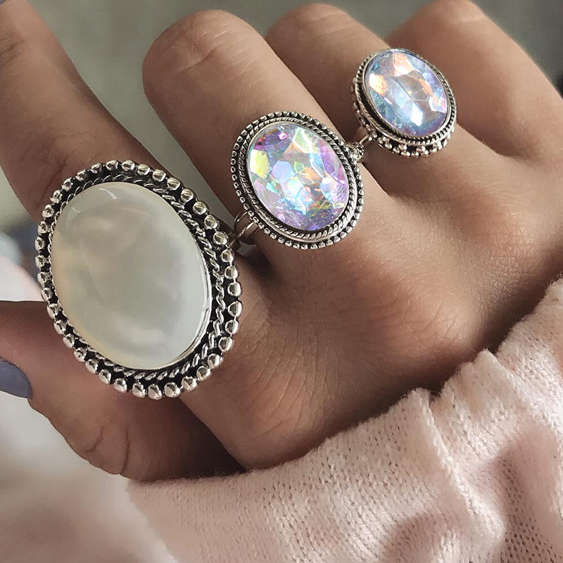 RscvonM Big 3pcs/Set Bohemia Oval Colorful Opal Stone Knuckle Midi Finger Rings Set for Women Silver Ring Jewelry Accessorie