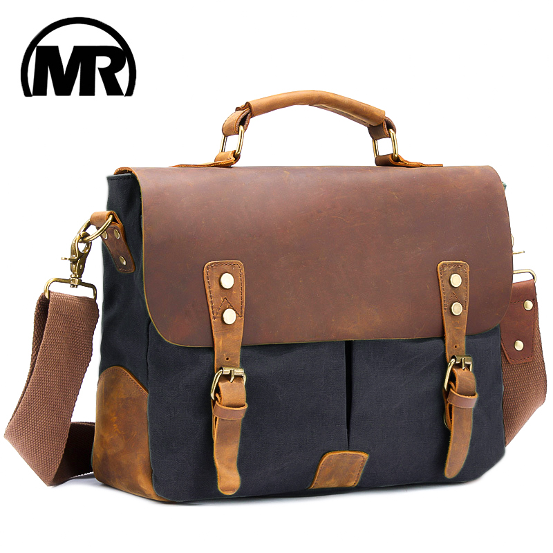 MARKROYAL Retro Cowhide Leather Canvas Travel Bag Fashion Casual Bags With Tape Multi Pocket Laptop Handbag
